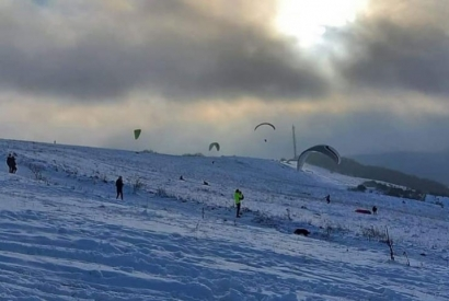 The Algrange paragliding spot in winter